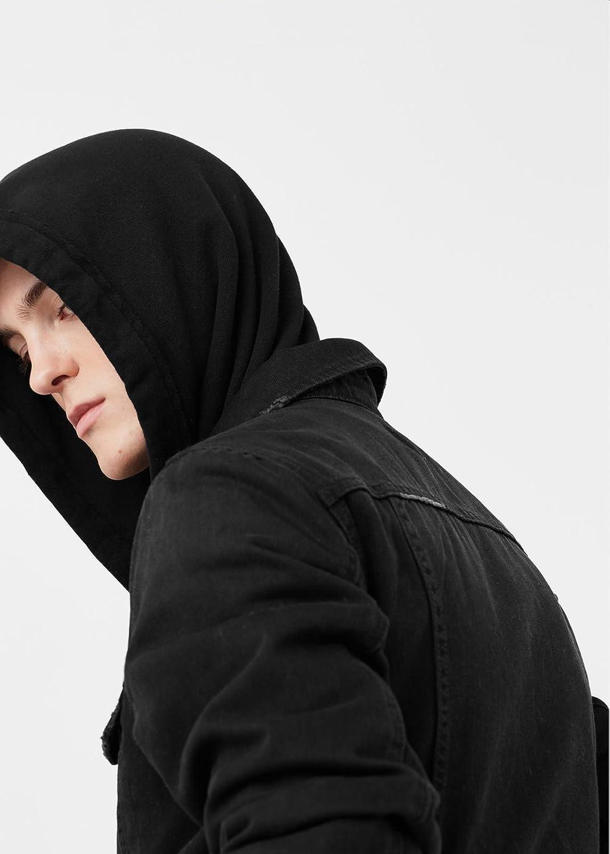 MANGO MAN - Quilted denim jacket - Size:XL - Color:BLACK DENIM