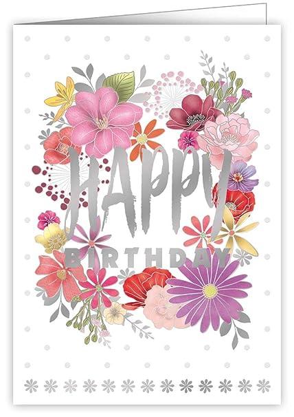 Tarjeta de felicitación de cumpleaños, diseño de flores ...