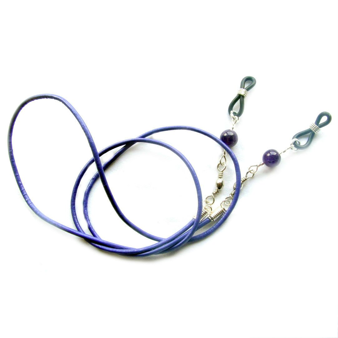 AMETHYST & LEATHER✫ EYEGLASS GLASSES SPECTACLE CHAIN HOLDER CORD