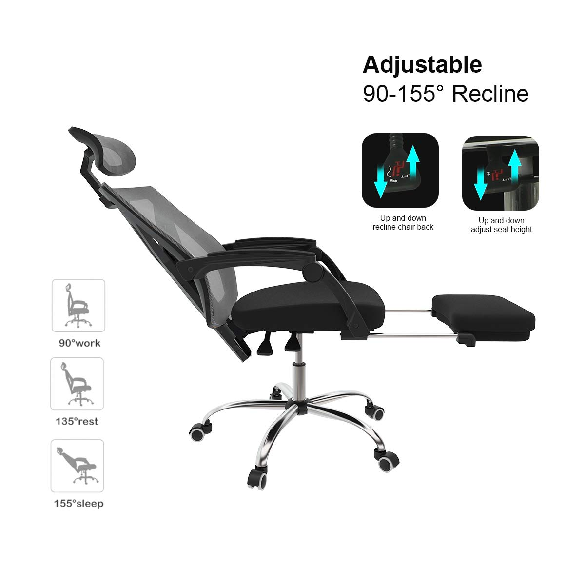 Hbada Ergonomic Office Recliner Chair - High-Back Desk Chair Racing Style with Lumbar Support - Height Adjustable Seat, Headrest- Breathable Mesh Back - Soft Foam Seat Cushion with Footrest, Black by Hbada (Image #8)