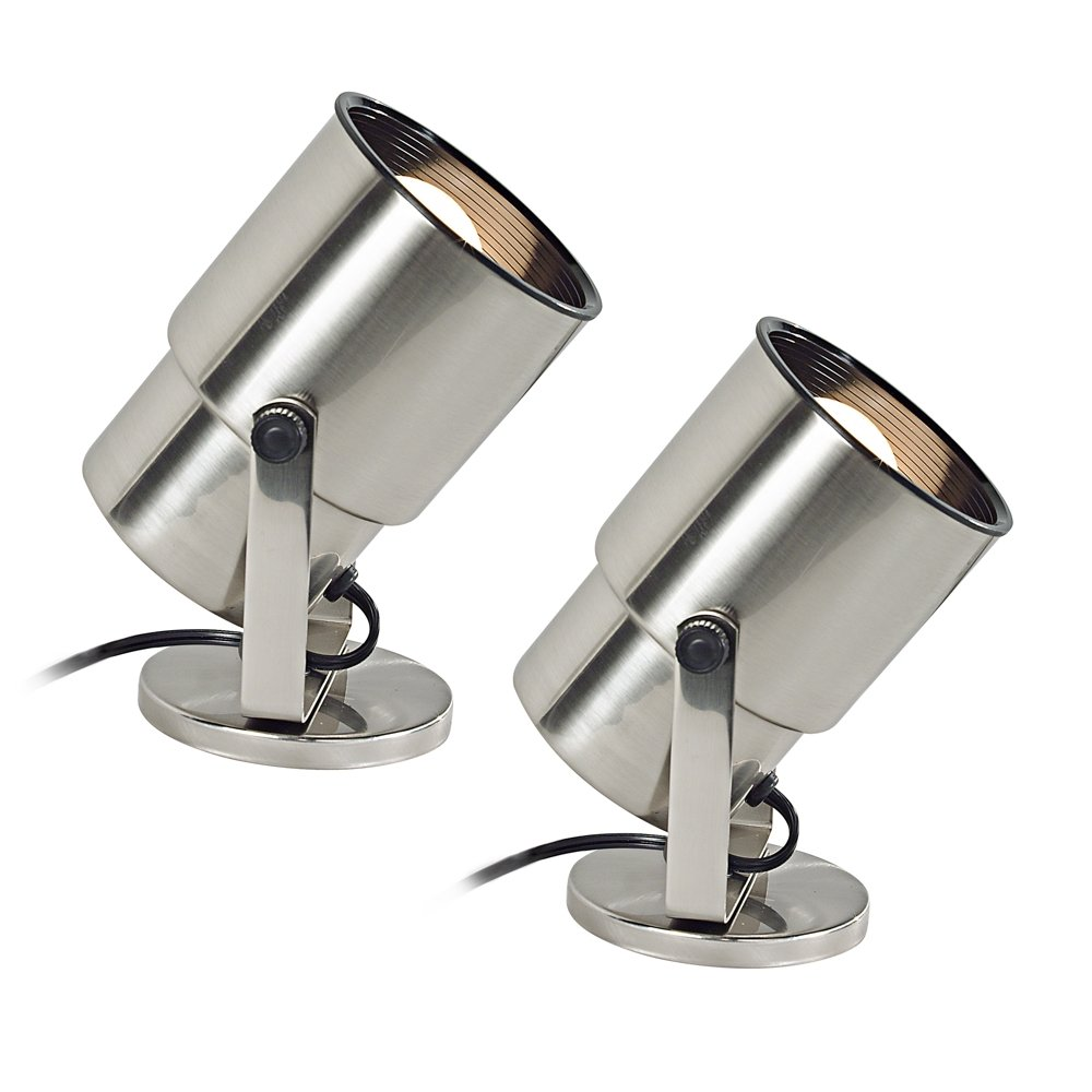 Brushed Steel 8''H Uplight Set of 2 with Remote Control