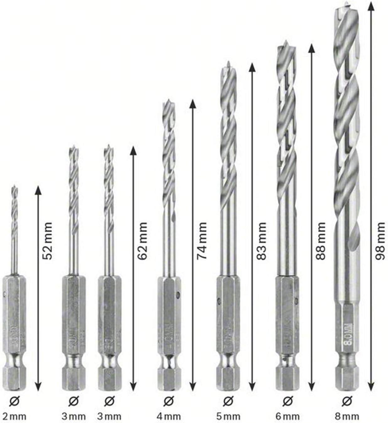 pack de 7 Bosch 2 607 019 923 2; 3; 3; 4; 5; 6; 8 mm Set de 7 brocas para madera Robust Line v/ástago hexagonal