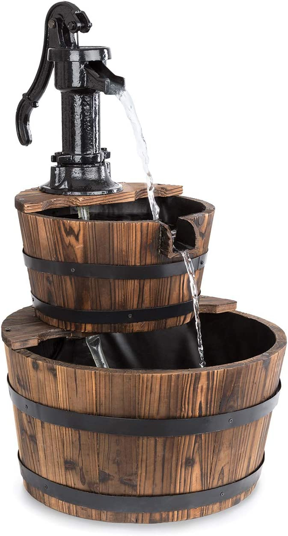 Blumfeldt Cascada Doble - Fuente de jardín, Cascada Decorativa, Fuente de Agua, Bomba 12 W, Sin Suministro Externo, Circulación 600 l/h, Uso Exterior, Madera marrón