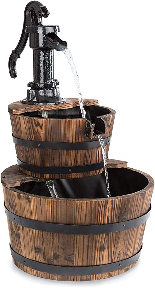 Blumfeldt Cascada Doble - Fuente de jardín, Cascada Decorativa, Fuente de Agua, Bomba 12 W, Sin Suministro Externo, Circulación 600 l/h, Uso Exterior, Madera marrón: Amazon.es: Jardín