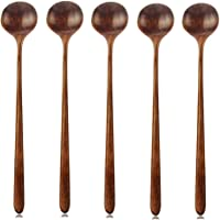 Soup Spoons AOOSY 5 Pieces Korean Wooden Long Handle Round Spoon Tableware Set for Soup Cooking Mixing Stirrer Kitchen Tools Utensils