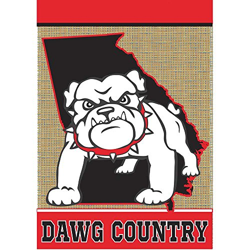 Dawg Country Red and Black 18 x 13 Rectangular Burlap Double Applique Small Garden - Song Tailgate Country