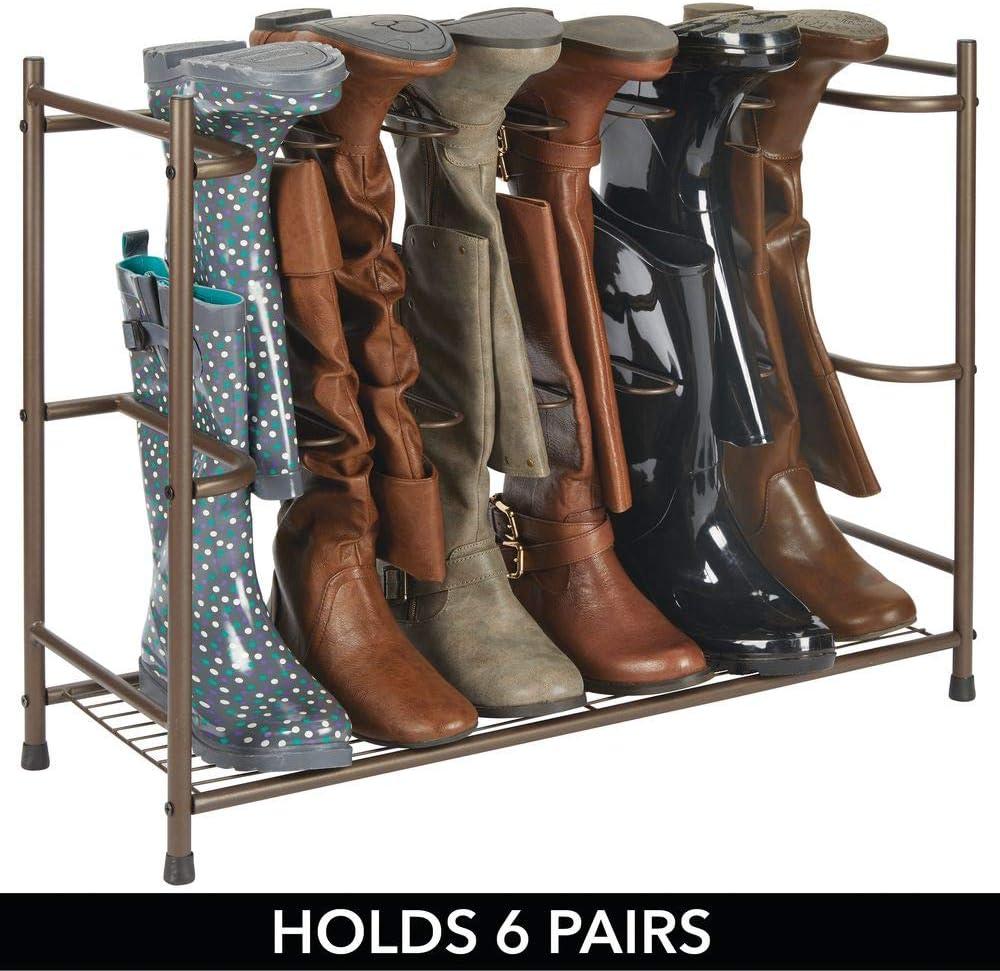 dunkelbraun Regal zum Stiefel und Schuhe aufh/ängen Reit- oder Damenstiefel mDesign Stiefelaufbewahrung platzsparendes Schuhregal f/ür sechs Paar Regen-