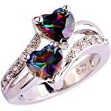 YAZILIND Engagement Heart Ring Colorful Crystal Bridal Anniversary Women Jewelry