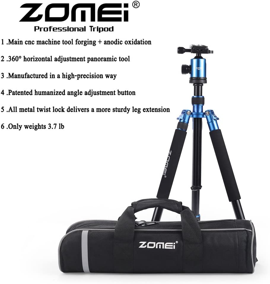 ZOMEi Tall Tripod,Camera Tripod for DSLR Blue Z818 Tripods for Cameras 65 Aluminium Alloy Monopod with 360 Panorama Ball Head Quick Release Plate Ball for DSLR Canon Sony Nikon Cameras