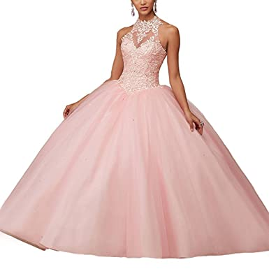 5a4aed54a7 Women s Lace Up Halter Sweet 15 Ball Gowns Quinceanera Dresses US 2 Pink