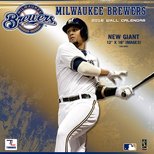"Turner Milwaukee Brewers 2016 Team Wall Calendar, September 2015 - December 2016, 12 x 12"" (8011854)"