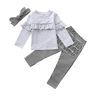 838da2f901a9 Baby Clothes Set, Girls Ruffles Shirt Tops + Plaid Pants Headband for 0-5  Years Old Kids Long Sleeve Outfits