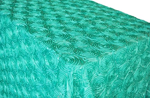 Wedding Linens Inc. 90 Inch x 156 Inch Rectangular Satin Rosette Tablecloths Table Cover Linens for Restaurant Kitchen Dining Wedding Party Banquet Events - Tiff Blue/Aqua Blue ()