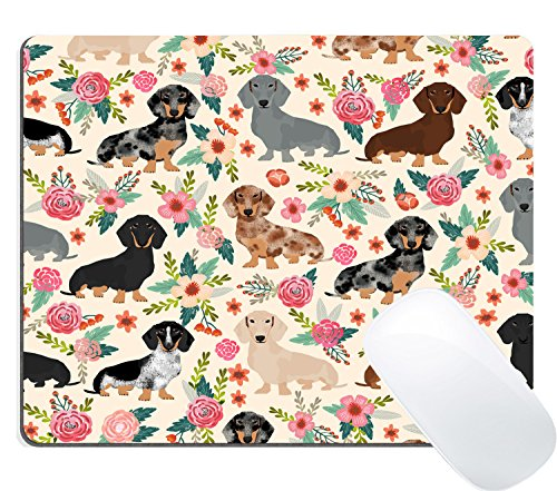 Wknoon Gaming Mouse Pad Custom, Cute Colored Floral Daschund Seamless Dog Flowers Design Print ()