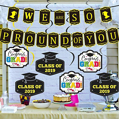 Graduation Decorations Balloons Grad Party Supplies 2019 We Are So Proud of You Banner -