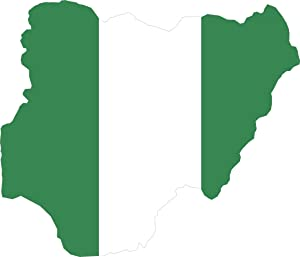 Map with Flag Inside Nigeria 4x4.5 Sticker Decal die Cut Vinyl - Made and Shipped in USA