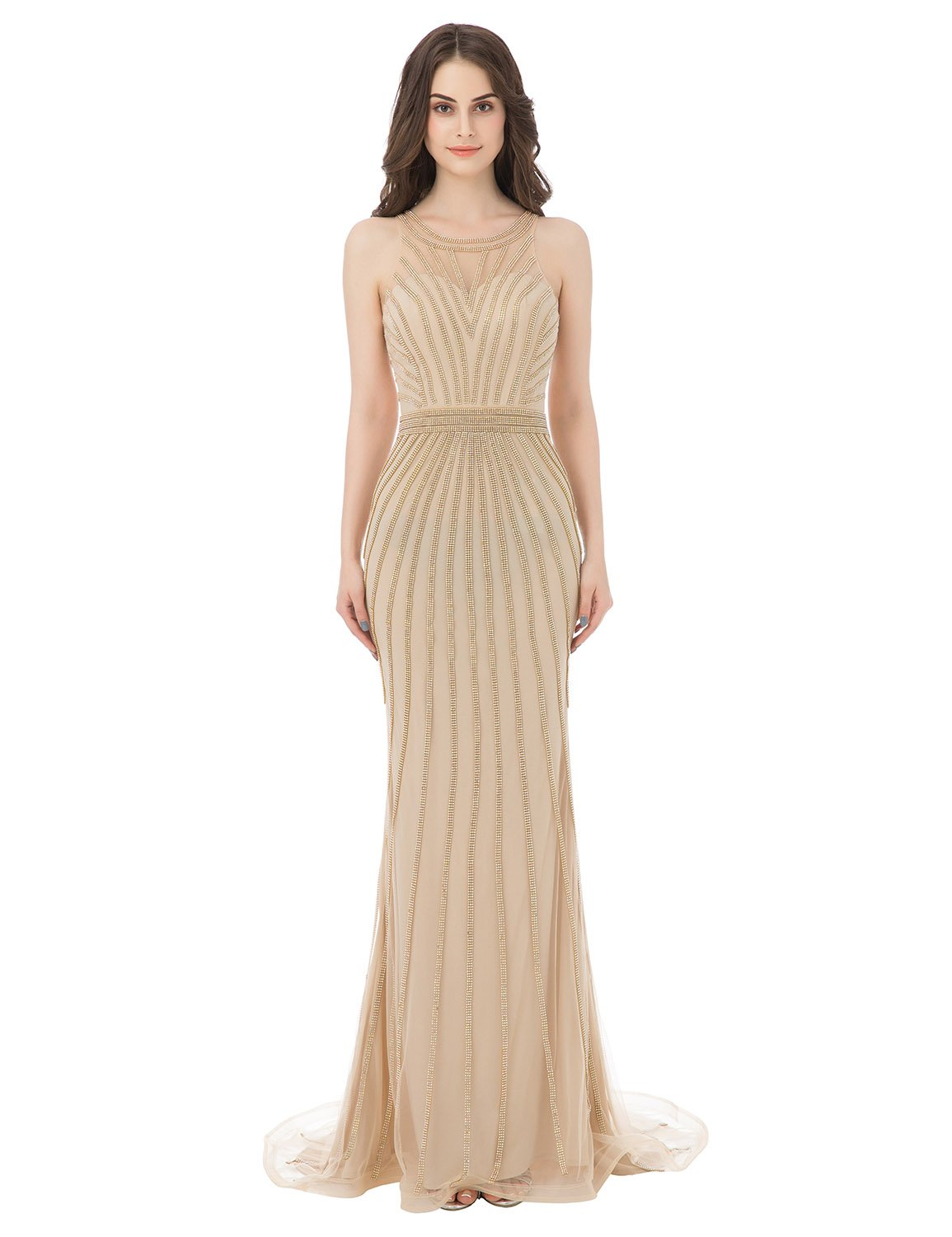 Sarahbridal Women's Beaded Bodice Prom Dresses Long Formal Evening Gowns Champagne US16