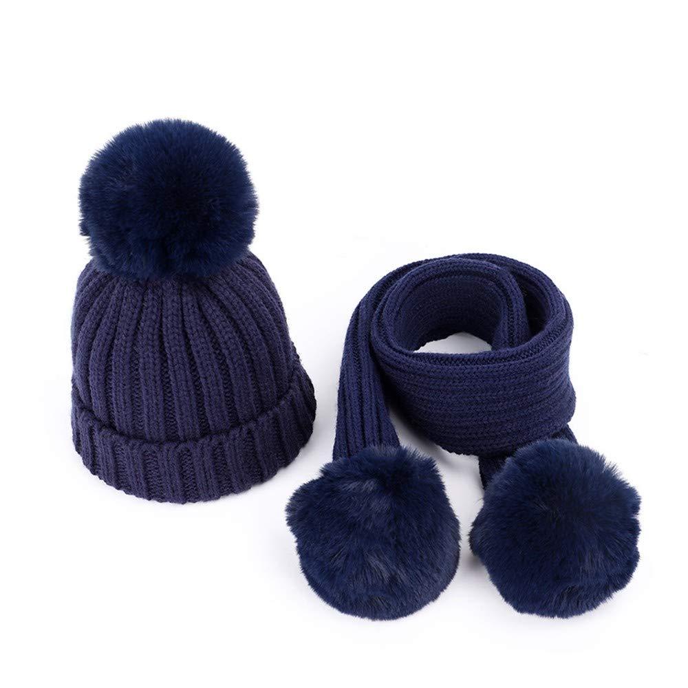 f23ab51dc HAOLIEQUAN Algodón De Punto para para para Niños Sombreros Bufanda Pompones  Calientes Color Sólido Moda Otoño
