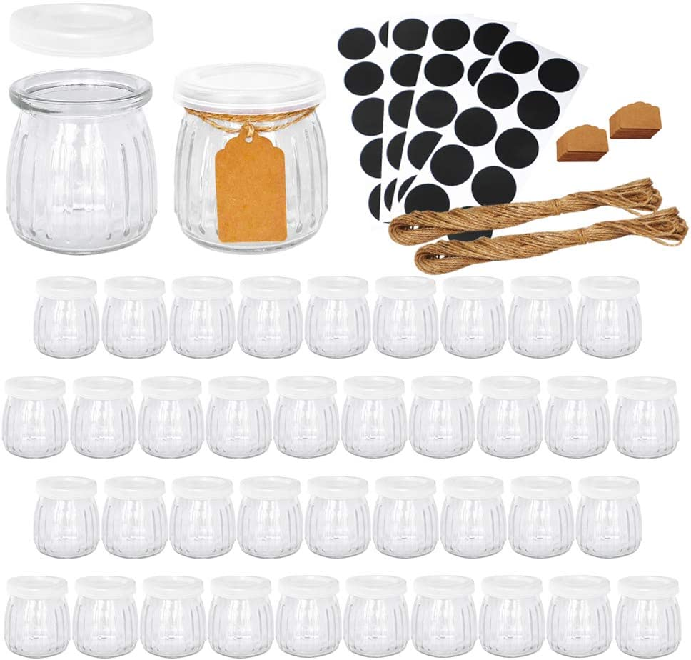Yogurt Jars, Ritayedet 7 oz Glass Jars with Lid, Glass Pudding Jars for Jam, Honey with Extra Blank Black Stickers,Set of 40