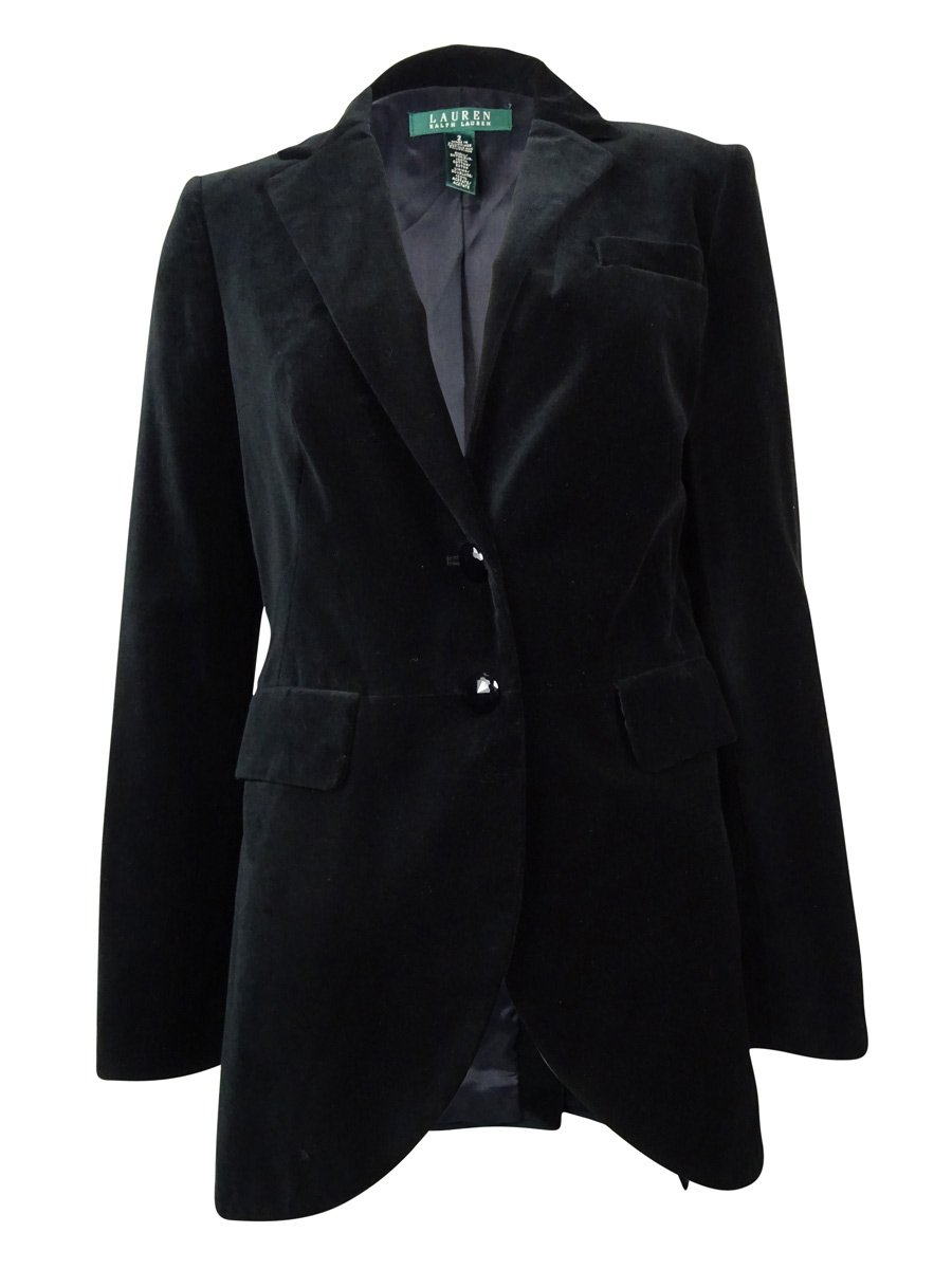 RALPH LAUREN Lauren Women's Notch Two Button Velvet Blazer (2, Black)