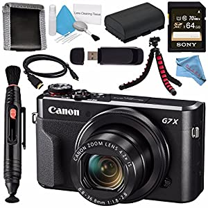 Canon PowerShot G7 X Mark II Digital Camera 1066C001 + NB-13L Lithium Ion Battery + Sony 64GB SDXC Card + Memory Card Wallet + Card Reader + Micro HDMI Cable + Fibercloth + Flexible Tripod Bundle