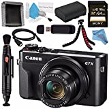 Canon PowerShot G7 X Mark II Digital Camera 1066C001 + NB-13L Lithium Ion Battery + Sony 64GB SDXC Card + Memory Card Wallet + Card Reader + Micro HDMI Cable + Fibercloth + Flexible Tripod Bundle For Sale