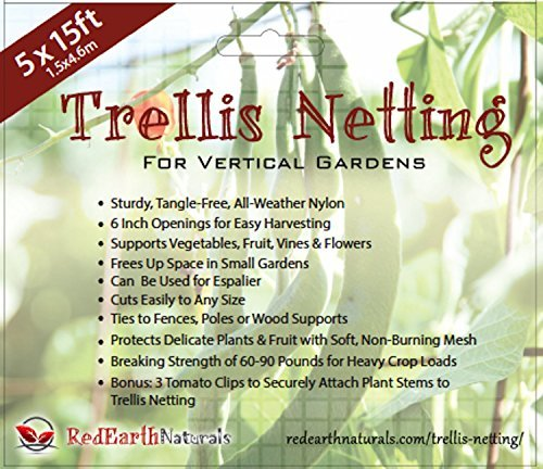 TRELLIS NETTING for SMART GARDENERS: Supports Tomatoes, Vegetables & Fruit to Grow Upright, Bonus: 5 Creative Ways to Use Garden Netting Ebook (Plant Support Netting)