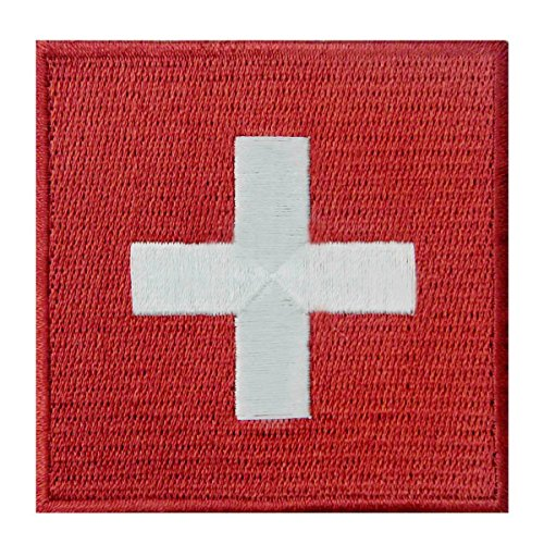 Switzerland Flag Embroidered CH Patch Swiss Iron On Sew On National Emblem