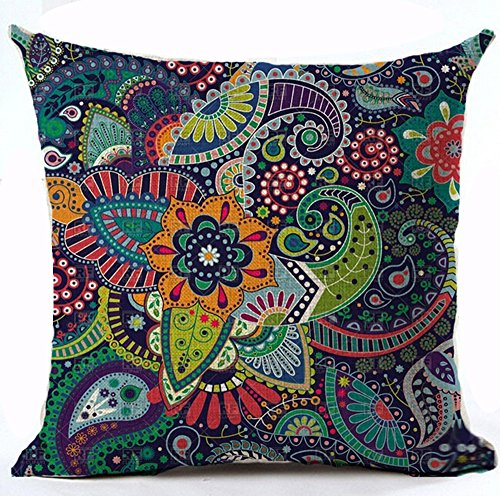 Colorful Vivid Colors Bohemian Boho Style Ethnic Flower Mandala Totem Fireworks Design Cotton Linen Throw Pillow Case Personalized Cushion Cover NEW Home Office Decorative Square 18 X 18 Inches