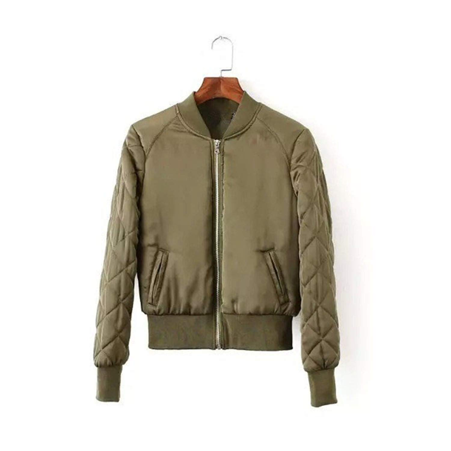 Amazon.com: Winter Bomber Jacket Women Aviator Jacket Army Green Baseball Jackets Chaquetas: Clothing