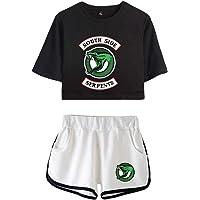 Camiseta y Pantalón Corto Riverdale Adolescente Chica Serpientes Camiseta de Manga Corta Verano Conjunto Deportivo para…