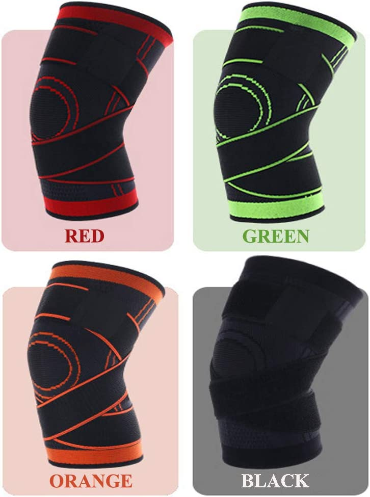 NIGOLS Knee Support Compression Breathable Knee Sleeve Adjustable Brace for Running Walking Cycling Basketball and Sports Injury recovery /& Protection for Men and Women
