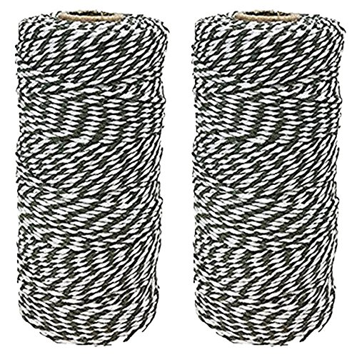 Just Artifacts ECO Bakers Twine 110yd 12Ply Striped Olive (2-Pack) - Decorative Bakers Twine for DIY Crafts and Gift Wrapping