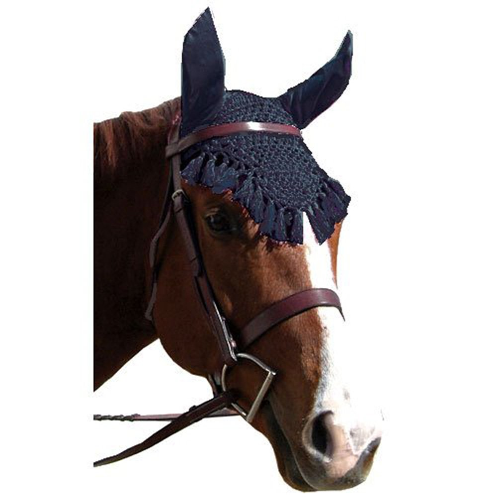 Intrepid International Fancy Crochet Fly Veil with Noise Reducing Ears, Royal Blue