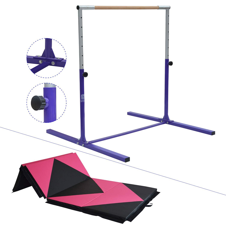 Modern-depo ジュニア プロ 体操 キップバー 厚い折りたたみマット付き 8フィート/10フィート 調節可能 (3フィート-5フィート) トレーニング 水平バー ブナ材 パープル 10' マルチカラー B07HFWPP59 pink and black-DA 10'