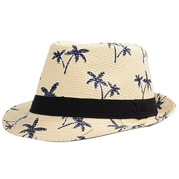 069fab57e1409 Dosige Sombrero al aire libre de lino Tela Transpirable de Gorro de jazz  con Patrón de árbol de coco para Verano Playa Hombres (Beige)  Amazon.es   Deportes ...