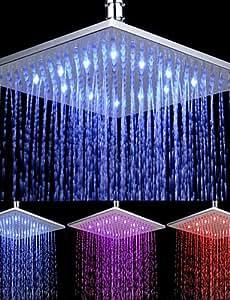 Hus new-arrival acabado cromado rectangular con temperatura controlada 3colores LED cabezal de ducha