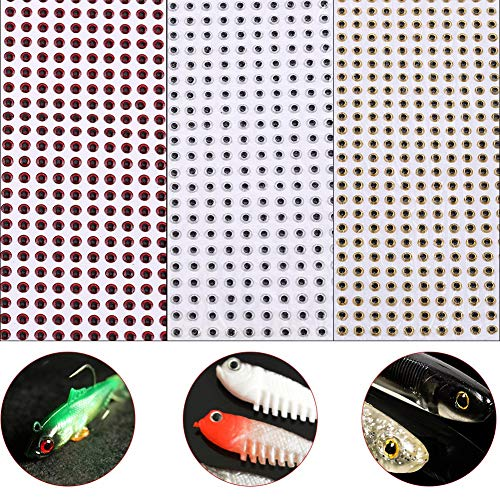 500pcs Fishing Lure 3D Eyes Waterproof Fishing Eyes Baits DIY Tackle Accessory 3/4/5mm(5mm-Red)