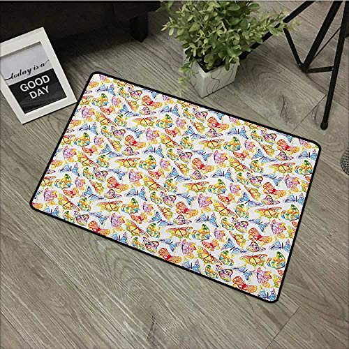 Bathroom Anti-Slip Door mat W35 x L47 INCH Butterfly,Vibrant Animals Psychedelic Sixties Inspired Color Palette Nature Illustration, Multicolor Non-Slip Door Mat Carpet