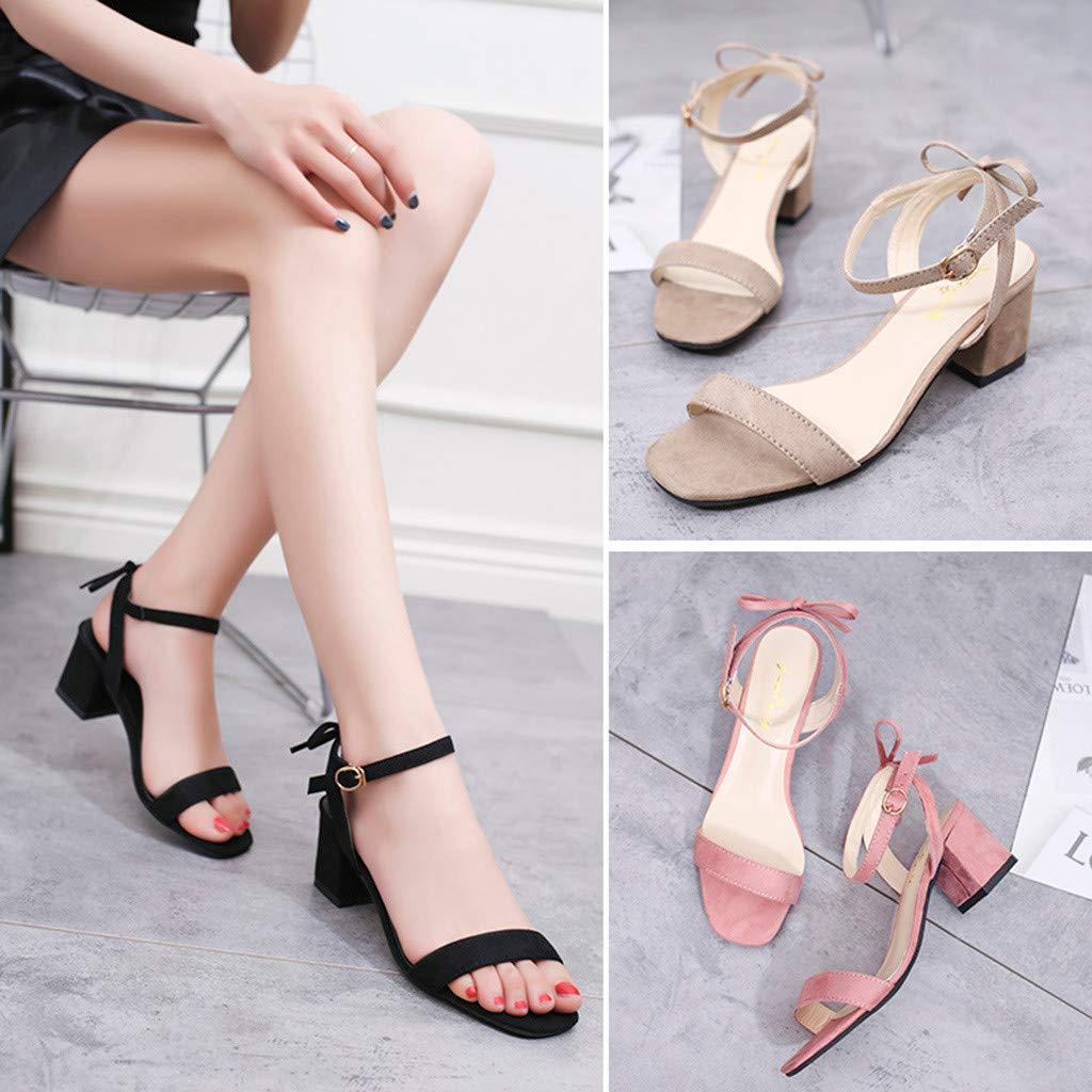 POLP Sandalias de Tac/ón Mujer Zapatos Tac/ón Bajo C/ómodo Cuadrado Heel Shoes Moda Casual para Chica S/ólido Hebilla Correa de Tobillo Negro Rosa Caqui 35-40