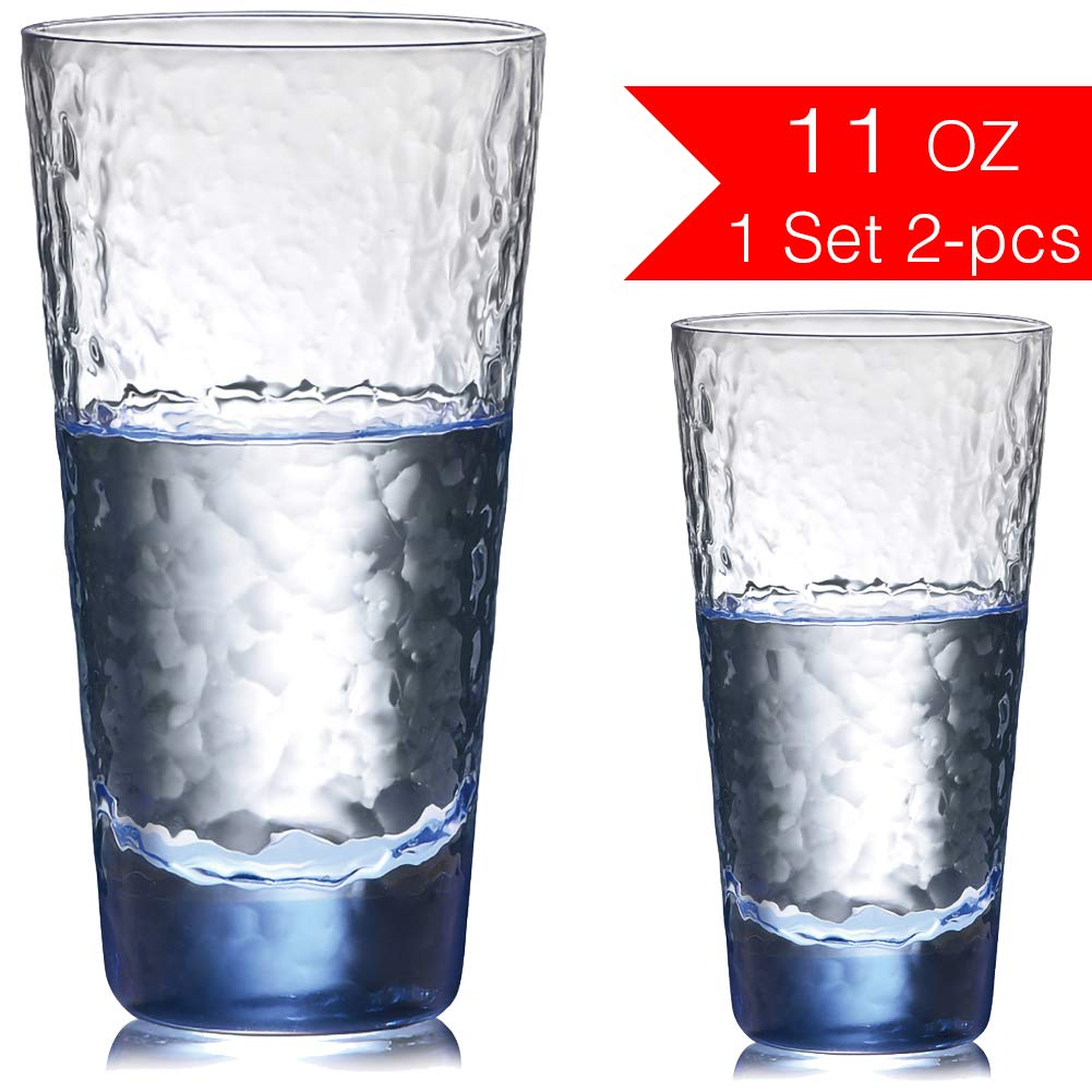 NORTHOME Drinking Glasses Set for Water Tall 11 oz Tea and Juice Beverage Clear Glass Cups Lead-Free Heavy Base Kitchen Glassware Design Tumbler Bar Highball Of Wine Gift cocktail Whiskey (Blue, 2)