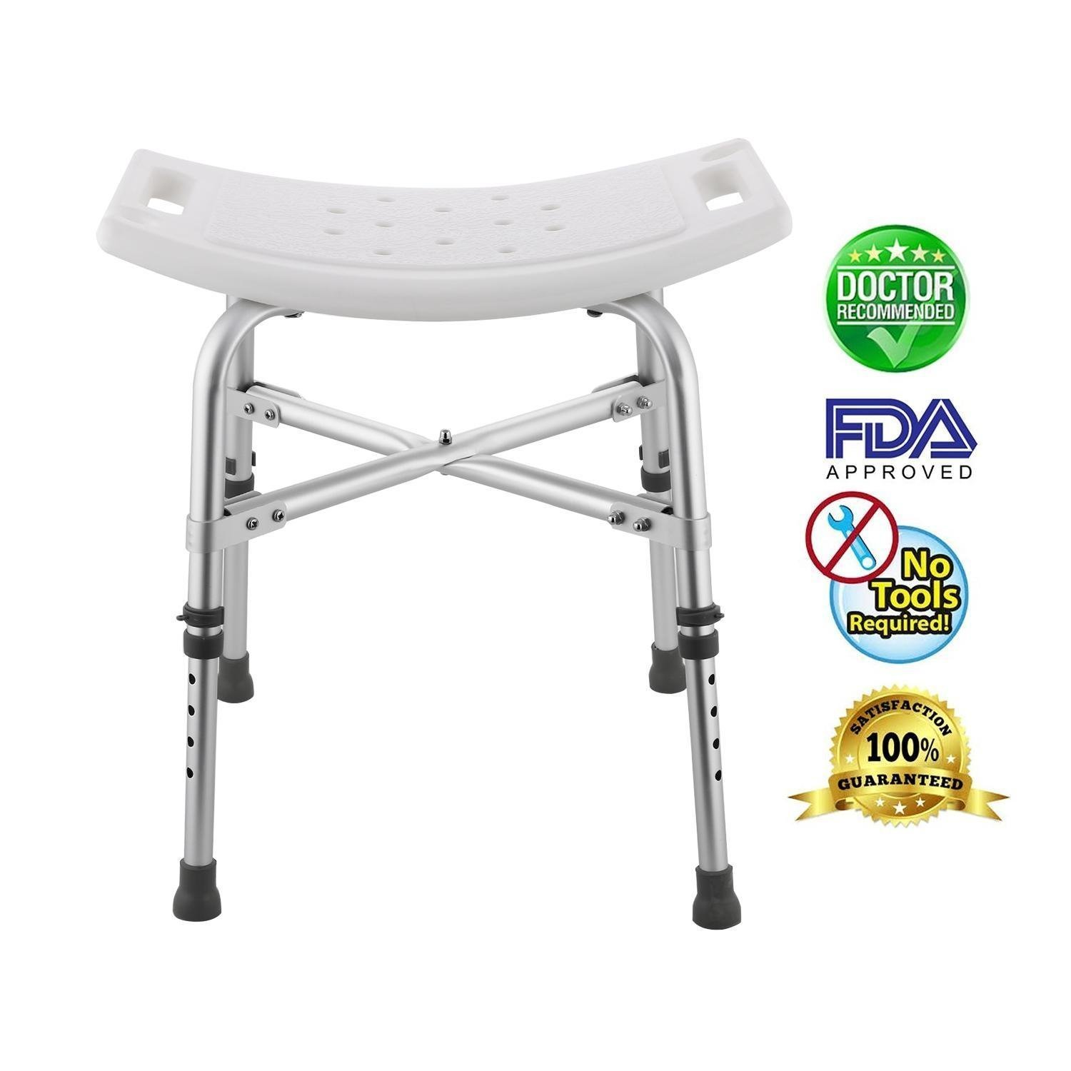Leoneva Spa Bathtub Adjustable Height Bath and Shower Seat Top Rated Shower Bench, Lightweight Bath Seat for Handicap, Disabled, Bathroom, Toilet (Adjustable 16.4-21.1inch) by Leoneva