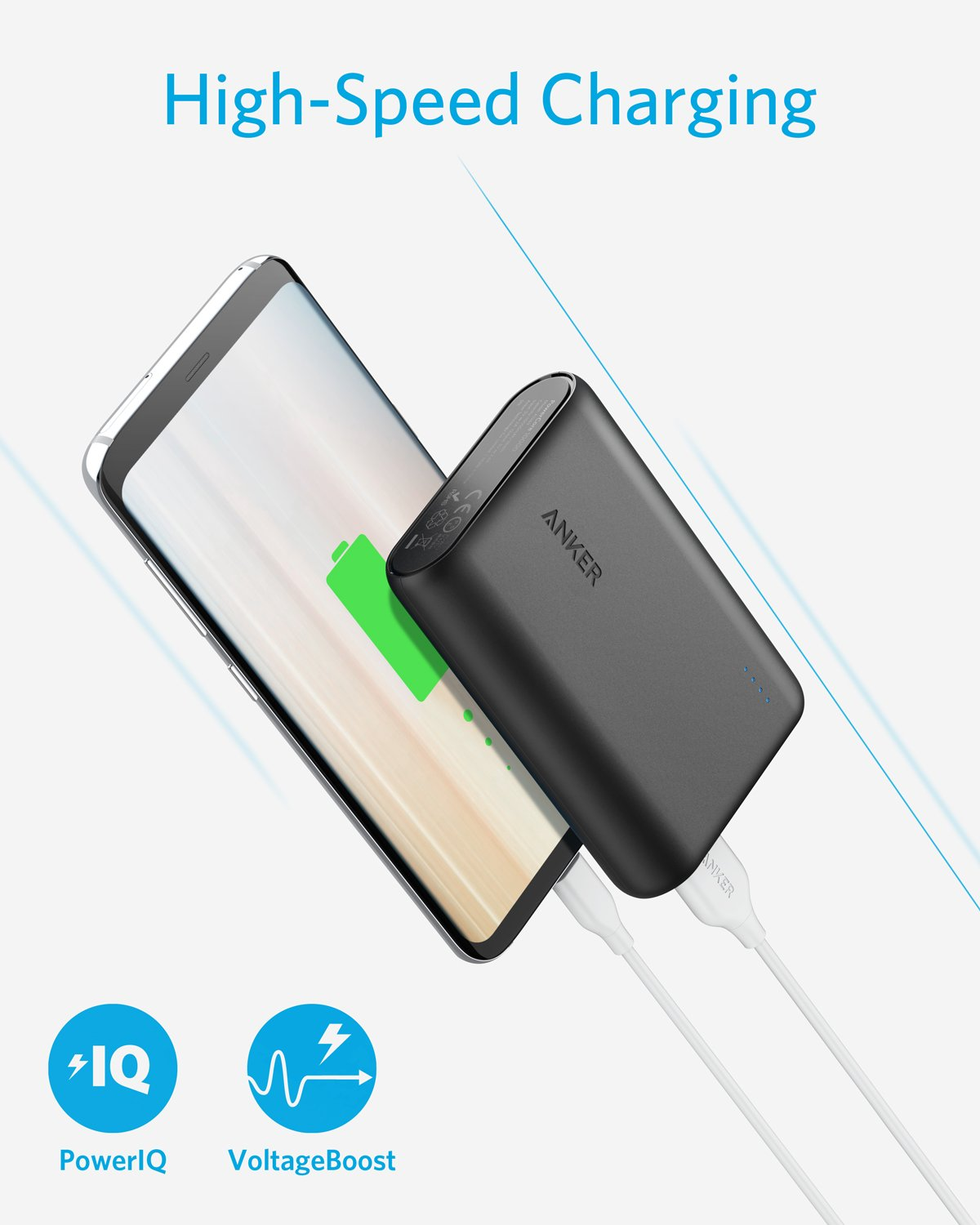 Anker PowerCore 10000 Portable Charger One of The Smallest and Lightest 10000mAh Power Bank