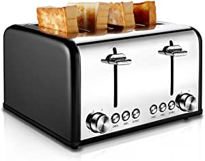 Toaster 4 Slice, CUSIBOX Stainless Steel Toaster with BAGEL/DEFROST/CANCEL Function, Extra Wide Slots Four Slice Bread Bagel Toaster, 1650W, Black (Renewed)