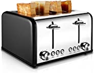 Toaster 4 Slice, CUSIBOX Stainless Steel Toaster with BAGEL/DEFROST/CANCEL Function, Extra Wide Slots Four Slice Bread Bagel
