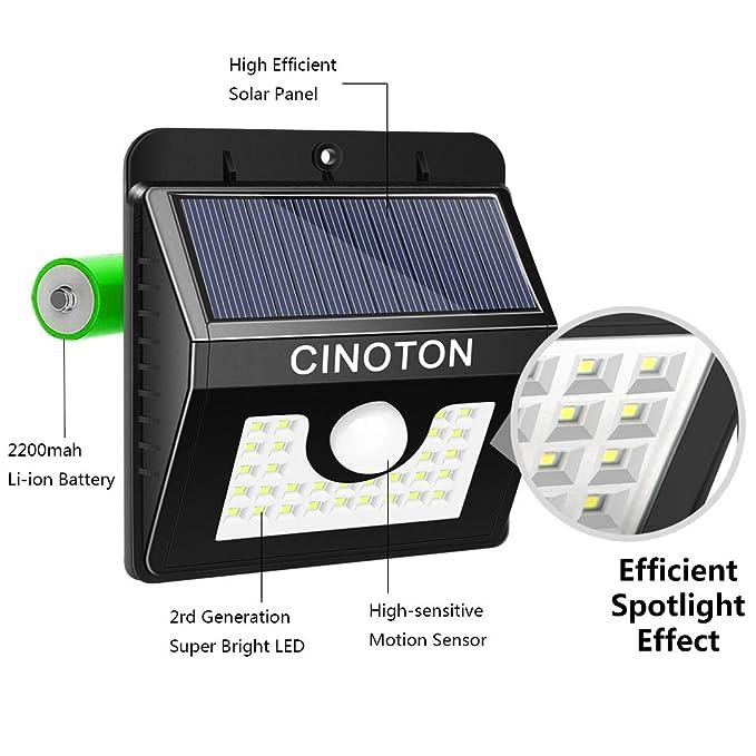 Cinoton 30LED Foco Solar Exterior,Luz Solar Jardín, Impermeable, Proporcionar hasta 12 HORAS con 3 Modos y Sensor de Movimiento Solar para Jardín, Patio, ...