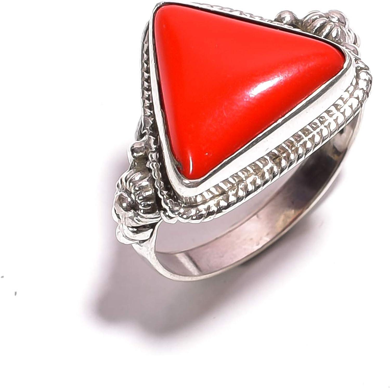 mughal gems & jewellery Anillo de Plata esterlina 925 Anillo de joyería Fina de Piedra Preciosa de Coral Rojo Natural (tamaño 7.25 U.S)
