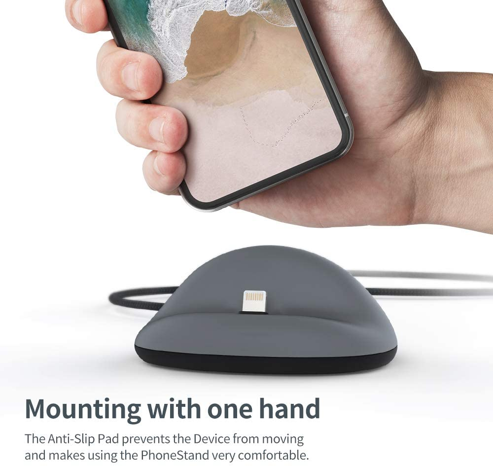 Black. Convenient and Sturdy Silicone Docking Station in Modern Design for Office and Home Sync Stand Flat iPhone Packet Sinjimoru iPhone Dock Including Cable for iPhone