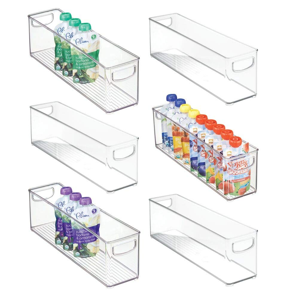 mDesign Kitchen Refrigerator Cabinet or Pantry Baby Food Storage Organizer Bin with Handles for Breast Milk, Pouches, Jars, Bottles, Formula, Juice Boxes - BPA Free, 16'' x 4'' x 5'' - 6 Pack - Clear by mDesign