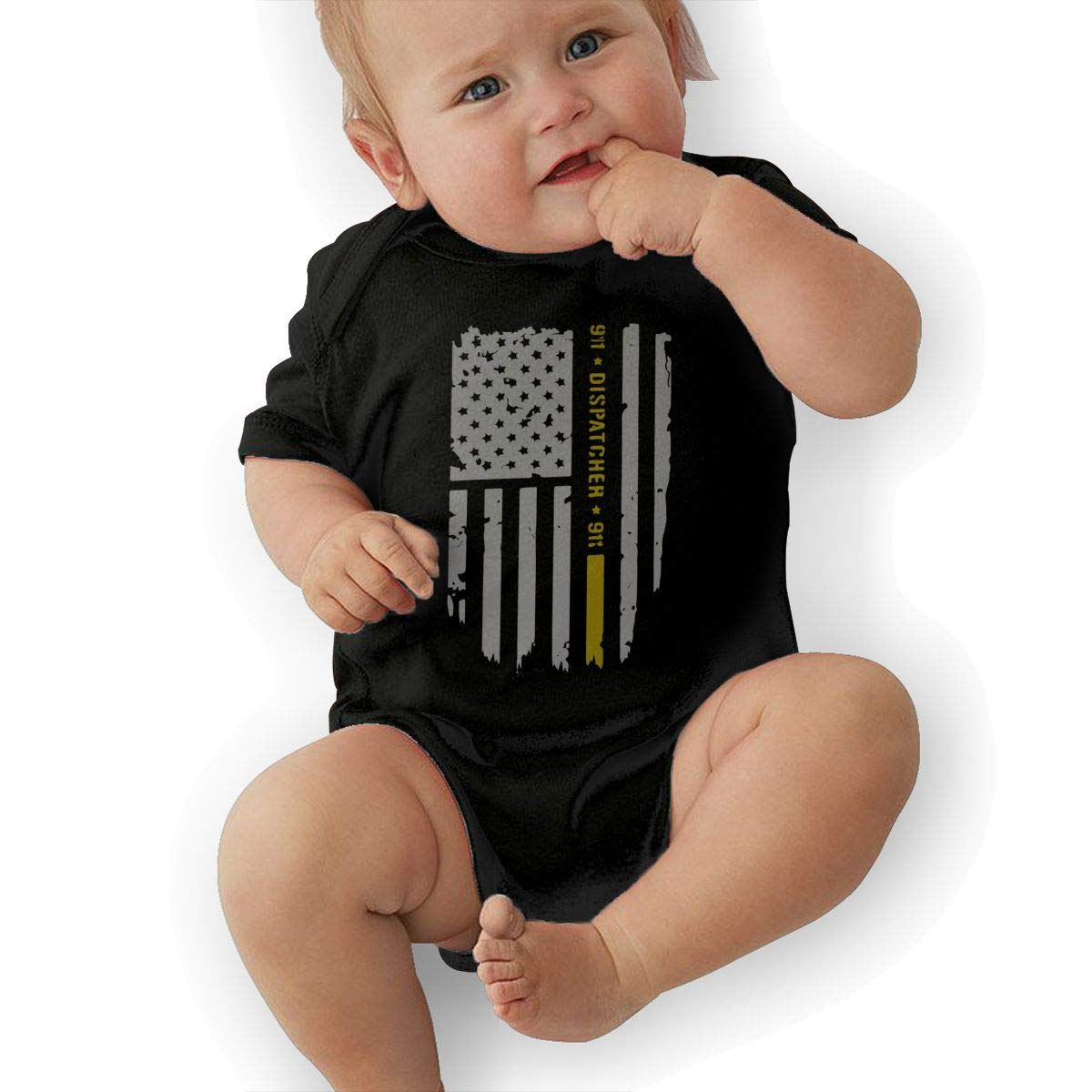 Soft 911 Dispatcher Thin Gold Line Crawler U88oi-8 Short Sleeve Cotton Rompers for Unisex Baby